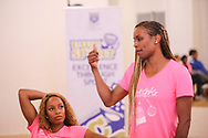CAPE TOWN, SOUTH AFRICA - MARCH 10: Natasha Hastings listens to Mechelle Lewis Freeman during the TrackGirlz events at University of Western Cape on March 10, 2018 in Cape Town, South Africa. (Photo by Roger Sedres/ImageSA)