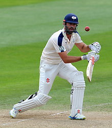 Yorkshire's Liam Plunkett flicks the ball. Photo mandatory by-line: Harry Trump/JMP - Mobile: 07966 386802 - 27/05/15 - SPORT - CRICKET - LVCC County Championship - Division 1 - Day 4 - Somerset v Yorkshire - The County Ground, Taunton, England.