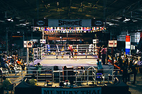 Young Muay Thai fighters in a match at Thepprasit Boxing Stadium in Pattaya, Thailand.