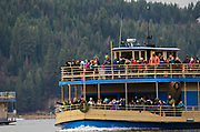 Bald eagle watching tour on Lake Coeur d' Alene Cruise ship in December during the Kokanee spawning on Lake Coeur d' Alene in North Idaho.