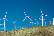 Wind power generation turbines in Beaumont pass near Palm Springs, California