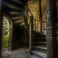 An abandoned palace in East Germany with old staircase