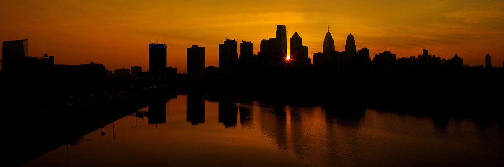 Sunrise over the Philadelphia skyline.