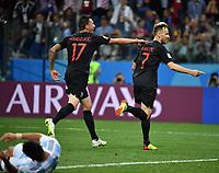 (180621) -- NIZHNY NOVGOROD, June 21, 2018 -- Ivan Rakitic (R) of Croatia celebrates scoring with teammate during the 2018 FIFA World Cup WM Weltmeisterschaft Fussball Group D match between Argentina and Croatia in Nizhny Novgorod, Russia, June 21, 2018. Croatia won 3-0. ) (SP)RUSSIA-NIZHNY NOVGOROD-2018 WORLD CUP-GROUP D-ARGENTINA VS CROATIA LixGa PUBLICATIONxNOTxINxCHN