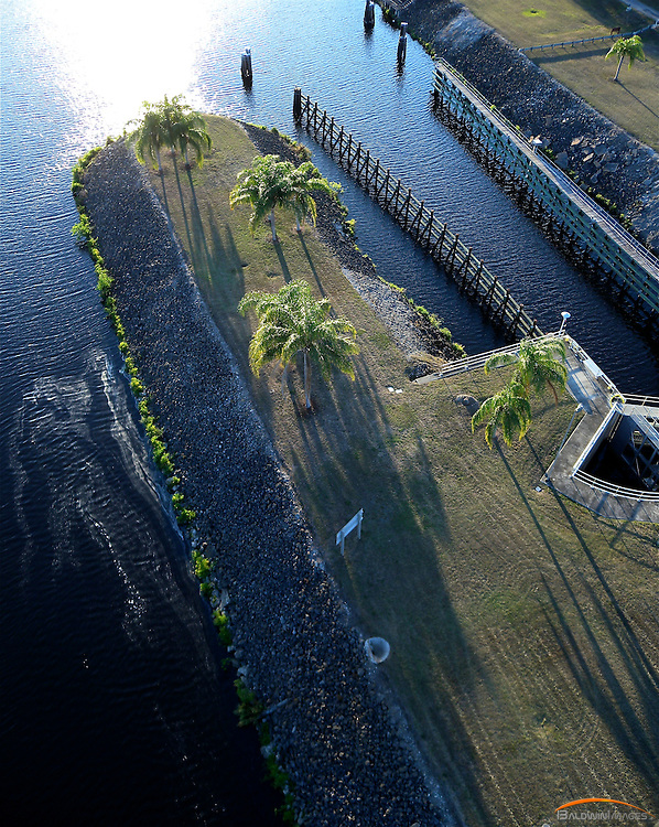 Aerial view of Ortona lock on the Okeechobee Waterway early morning. South central Florida