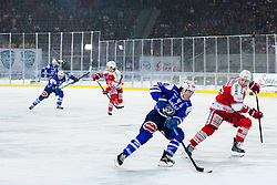 03.01.2015, Klagenfurter Wörthersee Stadion, Klagenfurt, AUT, EBEL, EC KAC vs EC VSV, 35. Runde, in picture Brock McBride (EC VSV, #10) vs Kirk Furey (EC KAC, #25) during the Erste Bank Icehockey League 35. Round between EC KAC and EC VSV at the Klagenfurter Wörthersee Stadion, Klagenfurt, Austria on 2015/01/03. Photo by Matic Klansek Velej / Sportida