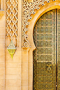 RABAT, MOROCCO - 27th May 2014 - Arched doorway architecture at the Mausoleum of Mohammed V Yacoub al-Mansour Esplanade in Rabat, Morocco.