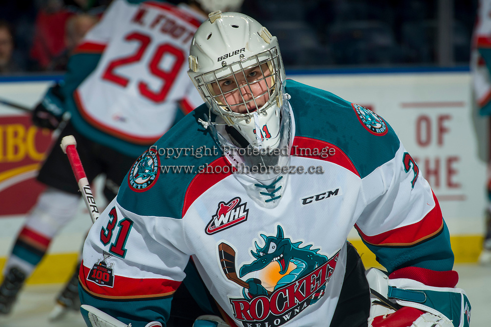 KELOWNA, CANADA - JANUARY 30: Brodan Salmond #31 of the Kelowna Rockets warms up against the Medicine Hat Tigers on January 30, 2017 at Prospera Place in Kelowna, British Columbia, Canada.  (Photo by Marissa Baecker/Shoot the Breeze)  *** Local Caption ***