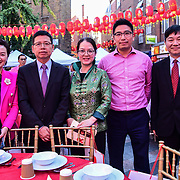 Chinese Minster 童学军 (2nd L Mr. Tong Xuejun)黄萍 (Ping Huang)and the Chinese Consular attend the Moon festival - The big feast for the chinese community and the 70th Anniversary of China at Chinatown Square on the 15th September 2019, London, UK.
