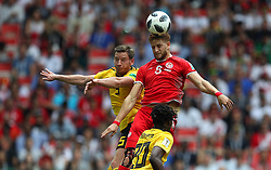 June 23, 2018 - Moscou, Rússia - MOSCOU, MO - 23.06.2018: BÉLGICA Y TÚNEZ - Fakhreddine BEN YOUSSEF of Tunisia contests ball with Romelu LUKAKU and Dedryck BOYATA of Belgium during the match between Belgium and Tunisia valid for the 2018 World Cup held at the Otkrytie Arena (Spartak) in Moscow, Russia. (Credit Image: © Rodolfo Buhrer/Fotoarena via ZUMA Press)