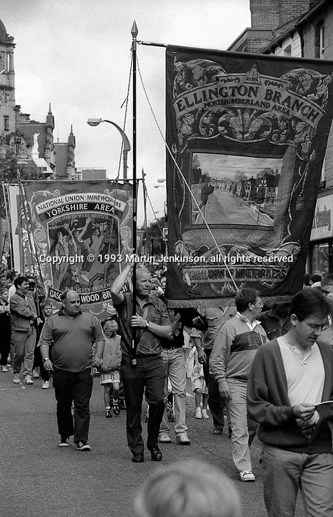 Ellington and Gascoigne Wood Branch banners. 1993 Yorkshire Miner's Gala. Wakefield.