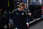 Kevin De Bruyne (17) of Manchester City gets off the team bus on arrival at the Viatlity Stadium before the Premier League match between Bournemouth and Manchester City at the Vitality Stadium, Bournemouth, England on 2 March 2019.