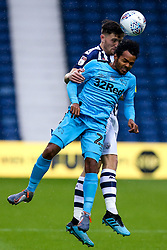 Duane Holmes of Derby County challenges Dara O'Shea of West Bromwich Albion to a header - Mandatory by-line: Robbie Stephenson/JMP - 08/07/2020 - FOOTBALL - The Hawthorns - West Bromwich, England - West Bromwich Albion v Derby County - Sky Bet Championship