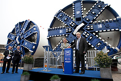 © licensed to London News Pictures. London, UK 13/03/2012. Mayor of London, Boris Johnson and Transport Secretary Justine Greening is starting Crossrail tunnel boring machines in Westbourne Park this morning. Photo credit: Tolga Akmen/LNP