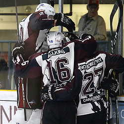 "TRENTON, ON  - MAY 2,  2017: Canadian Junior Hockey League, Central Canadian Jr. ""A"" Championship. The Dudley Hewitt Cup. Game 1 between Dryden GM Ice Dogs and the Georgetown Raiders.   Dryden GM Ice Dogs players celebrate their game tying goal during the third period<br /> (Photo by Alex D'Addese / OJHL Images)"