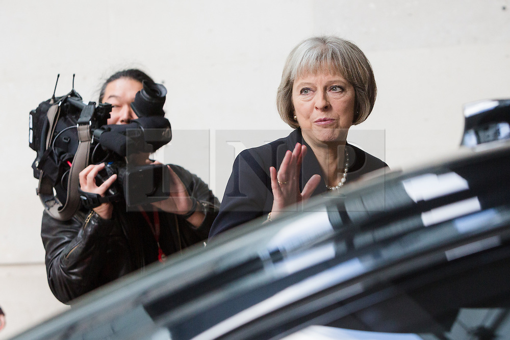 © Licensed to London News Pictures. 15/11/2015. London, UK. Home Secretary, THERESA MAY leaving BBC Broadcasting House in London to attend a COBRA meetiing after appearing on the Andrew Marr Show. Photo credit : Vickie Flores/LNP