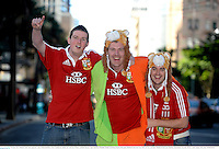 22 June 2013; British & Irish Lions supporters Aidan McDermott-Rowe, from Castleknock, Dublin, left, with Eoin O'Meara and Rob Shannon, right, both from Malahide, Dublin, in Brisbane ahead of the game. British & Irish Lions Tour 2013, 1st Test, Australia v British & Irish Lions. Brisbane, Queensland, Australia. Picture credit: Stephen McCarthy / SPORTSFILE