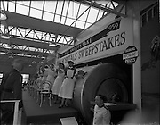 22/10/1959<br /> 10/22/1959<br /> 22 October 1959<br /> Irish Hospitals Trust 97th Sweepstake Draw on Cambridgeshire 1959 at Irish Hospital Sweepstakes office, Ballsbridge, Dublin. View of the drum and nurses as a Garda Superintendent orders nurses to draw tickets.