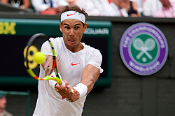 LONDON, ENGLAND - Saturday, July 14, 2018: Rafael Nadal (ESP) during the Gentlemen's Singles Semi-Final match on day twelve of the Wimbledon Lawn Tennis Championships at the All England Lawn Tennis and Croquet Club. (Pic by Kirsten Holst/Propaganda)