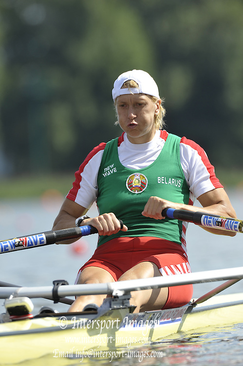 Poznan, POLAND,  BLR W1X,  Ekaterina KARSTEN-KHODOTOVITCH, competing in the heats of the women's single scull, on the first day of the, 2009 FISA World Rowing Championships. held on the Malta Rowing lake, Sunday 23/08/2009 [Mandatory Credit. Peter Spurrier/Intersport Images]