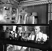 Charles Herbert Best (1899-1978) in the laboratory in 1960 with assistant (left) Canadian physiologist who assisted Banting to isolate Insulin (1921) Also discovered Choline and Histaminase