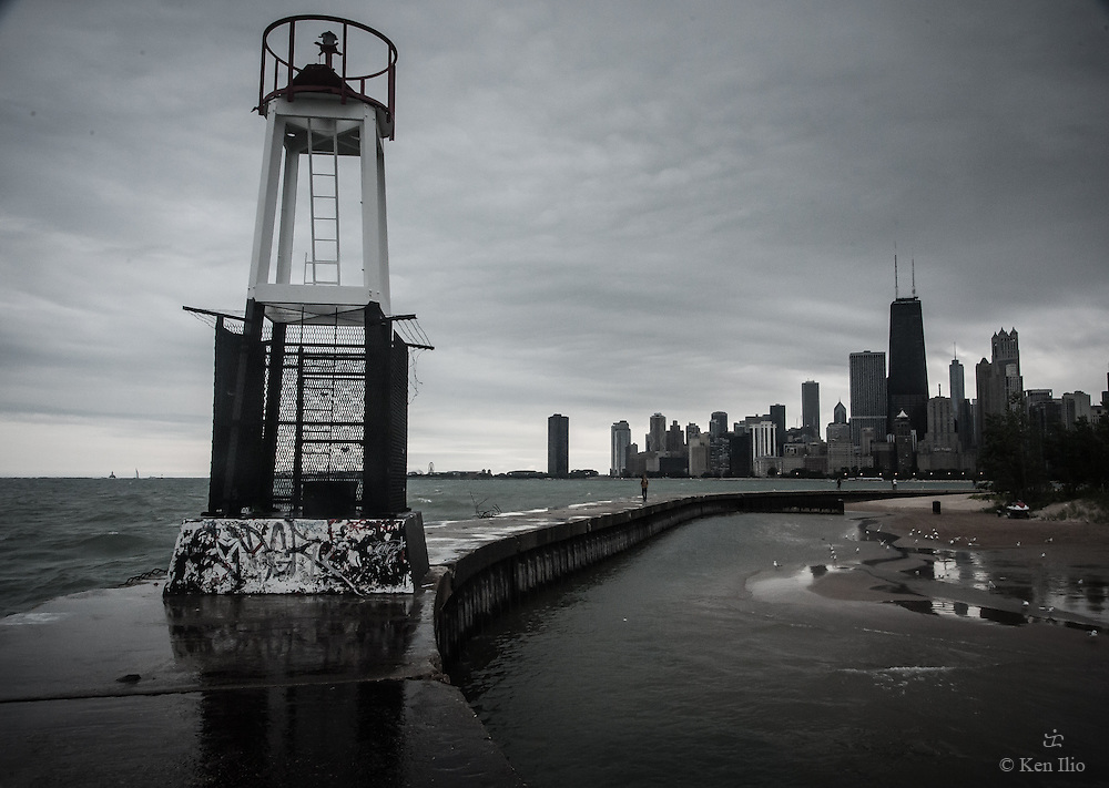A beacon on the groin at North Ave. Beach in Chicago.