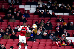 Ainsley Maitland-Niles of Arsenal controls the ball in front of a small crowd of Arsenal fans - Mandatory by-line: Robbie Stephenson/JMP - 13/12/2018 - FOOTBALL - Emirates Stadium - London, England - Arsenal v Qarabag - UEFA Europa League group stage
