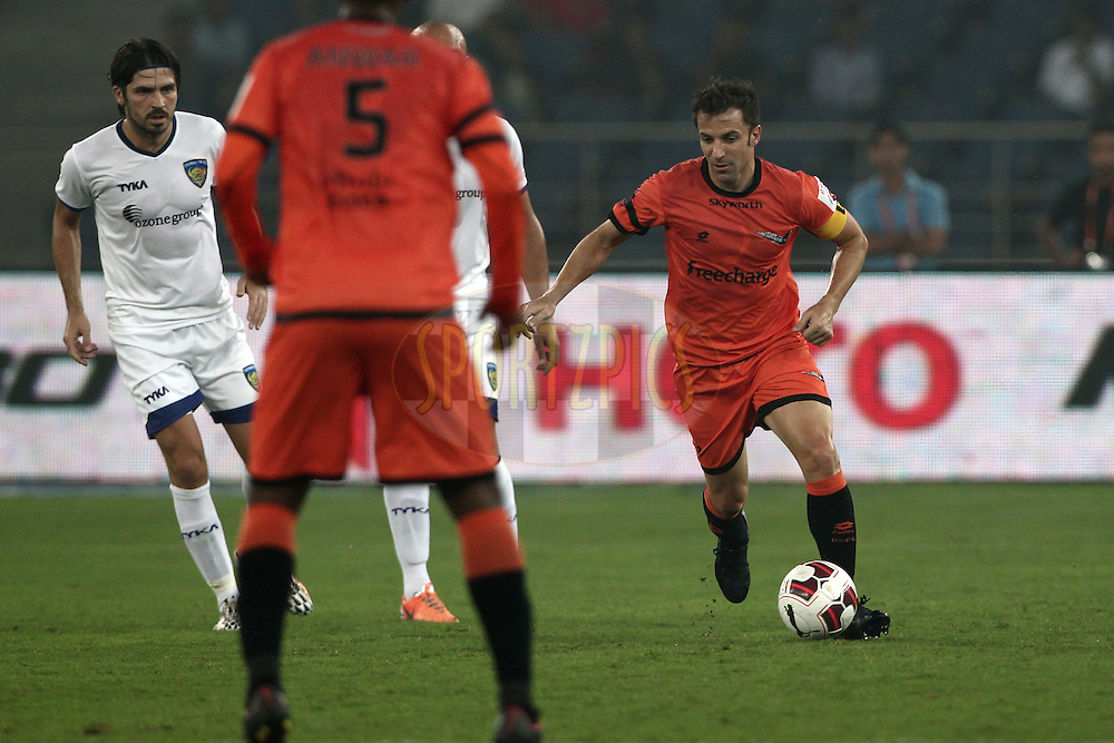 Alessandro Del Piero of Delhi Dynamos FC in action during match 12 of the Hero Indian Super League between The Delhi Dynamos FC and Chennaiyin FCheld at the Jawaharlal Nehru Stadium, Delhi, India on the 25th October 2014.<br /> <br /> Photo by:  Deepak Malik/ ISL/ SPORTZPICS