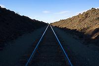 Railroad bed through a lava field in central Oregon