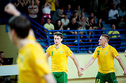 Darko Cingesar and Mario Cingesar of RD Loka 2012 celebrate during handball match between RD Loka and RK Slovenj Gradec in 21st Round of 1B DRL  league 2013/14 on May 10, 2014, in Sportna dvorana Poden, Skofja Loka, Slovenia. Photo by Vid Ponikvar / Sportida