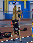 University of Maryland Eastern Shore junior Chelsea Lowe who finished third in the Women's Poll Vault with a jump of 3.34 meters, does hand stand prior to a jump during the 2012 MEAC Indoor Track Championship in Landover, Maryland.  02/17/12  (Photo by Mark W. Sutton)
