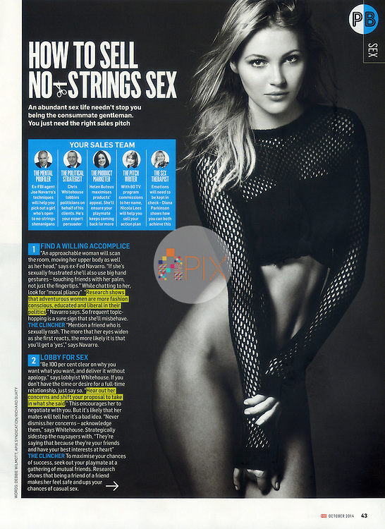 Here are some tips on 'How to sell no-strings sex' in the October 2014 issue of MEN'S HEALTH magazine, Australia. <br /> <br /> Images from our studio shoot, available for worldwide use with approval:  http://www.apixsyndication.com/gallery/Deimante-Guobyte/G0000OWAs5vN4d4s/C0000TFf6blMI1JA
