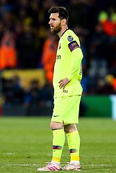 Lionel Messi of Barcelona cuts a dejected figure - Mandatory by-line: Robbie Stephenson/JMP - 07/05/2019 - FOOTBALL - Anfield - Liverpool, England - Liverpool v Barcelona - UEFA Champions League Semi-Final 2nd Leg