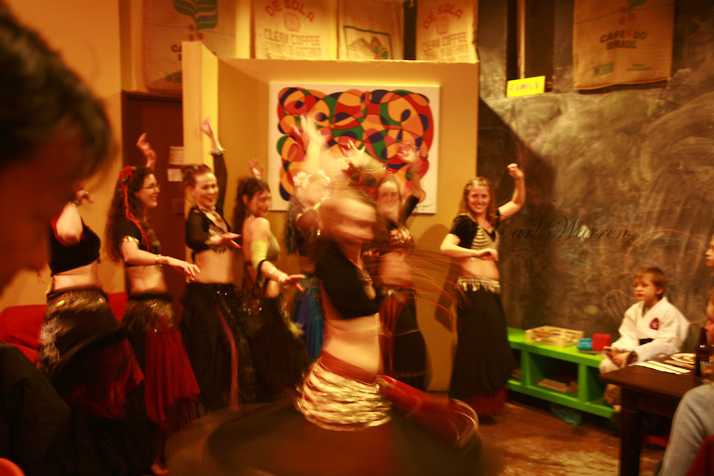 Belly Dancers at Solstice restaurant bingen Washington <br /> Jan 2009