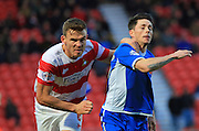 Ian Henderson, Andy Butler during the Sky Bet League 1 match between Doncaster Rovers and Rochdale at the Keepmoat Stadium, Doncaster, England on 21 November 2015. Photo by Daniel Youngs.