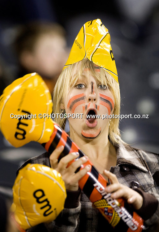 Canterbury fan with AMI merchandise. Air NZ Cup, Quarter Final, Canterbury v Tasman, AMI Stadium, Christchurch, Friday 9 October 2008. Photo: Joseph Johnson/PHOTOSPORT