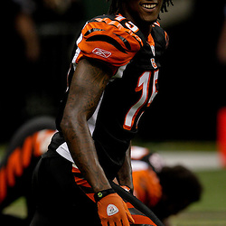 2009 August 14: Cincinnati Bengals wide receiver Chris Henry (15) born in Belle Chasse, Louisiana is shown during a preseason opener between the Cincinnati Bengals and the New Orleans Saints at the Louisiana Superdome in New Orleans, Louisiana.  Henry died on the morning of December 17, 2009 after suffering injuries he sustained after falling from the back of a pick up truck, Henry was 26-years old.