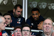 Injured players Callum Wilson (13) of AFC Bournemouth in the stand with Steve Cook (3) of AFC Bournemouth and Junior Stanislas (19) of AFC Bournemouth during the Premier League match between Bournemouth and Manchester City at the Vitality Stadium, Bournemouth, England on 2 March 2019.
