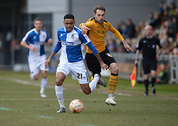 Cristian Montano of Bristol Rovers Battles for the ball with Alex Rodman of Newport County - Mandatory byline: Alex James/JMP - 19/03/2016 - FOOTBALL - Rodney Parade - Newport, England - Newport County v Bristol Rovers - Sky Bet League Two