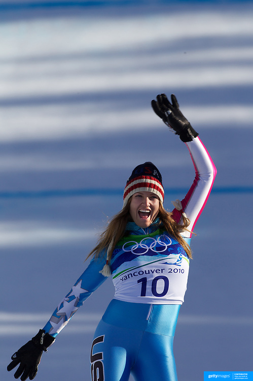 Winter Olympics, Vancouver, 2010.Lindsey Vonn, USA, winning Gold in the Alpine Skiing Ladies downhill at Whistler Creekside, Whistler, during the Vancouver  Winter Olympics. 17th February 2010. Photo Tim Clayton