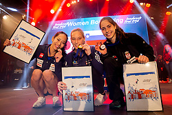 Second placed Akiyo Noguchi of Japan, Winner Janja Garnbret of Slovenia and Third placed Stasa Gejo of Serbia during Women's bouldering Final at the IFSC Climbing World Championships Innsbruck 2018, on September 14, 2018 in OlympiaWorld Innsbruck, Austria, Slovenia. Photo by Urban Urbanc / Sportida