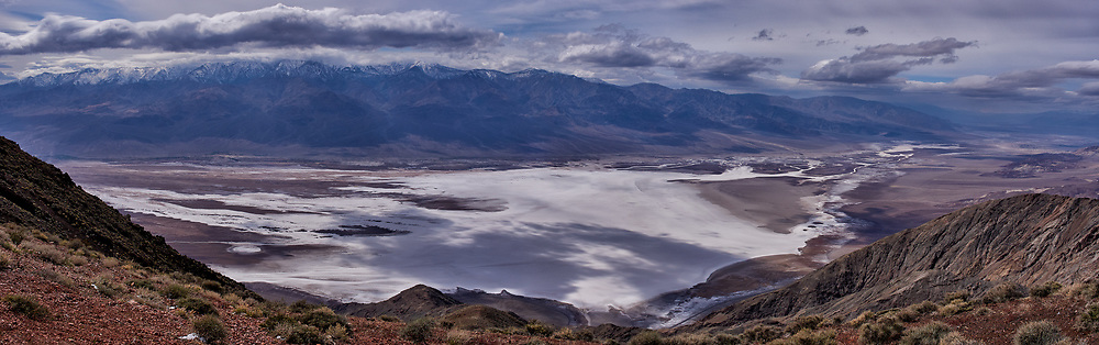 Salt Flats Panorama from Dante's View. Death Valley National Park. Composite of three images taken with a Leica X1 camera (ISO 100, 24 mm, f/16, 1/500 sec).