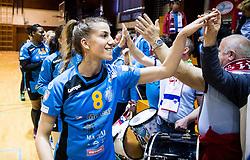 Ana Abina of RK Krim Mercator celebrates after the handball match between RK Krim Mercator and ZRK Z'Dezele Celje in Last Round of Slovenian National Championship 2016/17, on April 18, 2017 in Arena Galjevica, Ljubljana, Slovenia. Photo by Vid Ponikvar / Sportida