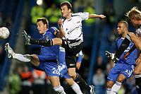 Fotball , 18. september 2007,  Champions League ,  Chelsea - Rosenborg<br />Miika Koppinen , Rosenborg scorer foran John Terrey , Chelsea