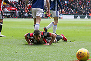 Enda Stevens of Sheffield United (3) is floored in the box during the EFL Sky Bet Championship match between Sheffield United and Nottingham Forest at Bramall Lane, Sheffield, England on 17 March 2018. Picture by Mick Haynes.
