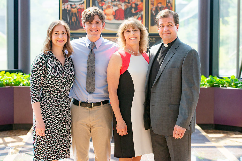 Group portrait of the Rev. Robert Zagore, executive director in the LCMS Office of National Mission, his wife Gwen, their son Christopher and his wife Leah, in the chapel of the International Center of The Lutheran Church–Missouri Synod on Wednesday, May 30, 2018, in St. Louis. LCMS Communications/Erik M. Lunsford