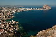 Calpe City and Penon of Ifach viewed from Morro de Toix. Alicante province, Costa Blanca, Spain, Europe.