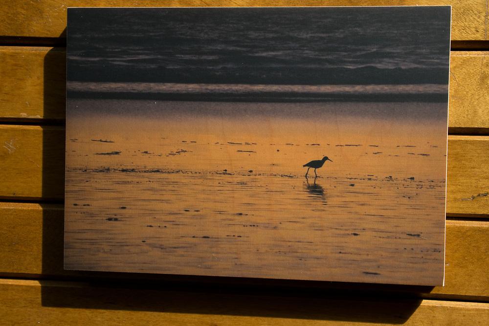 'Orange Tide' photograph printed on maple wood.