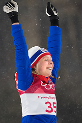 February 12, 2018 - Pyeongchang, SOUTH KOREA - 180212 Maren Lundby of Norway celebrates after winning the Ski Jumping, Women's Normal Hill Individual Final, during day three of the 2018 Winter Olympics on February 12, 2018 in Pyeongchang..Photo: Joel Marklund / BILDBYRN / kod JM / 87619 (Credit Image: © Joel Marklund/Bildbyran via ZUMA Press)