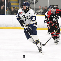 TORONTO, ON  - APR 10,  2018: Ontario Junior Hockey League, South West Conference Championship Series. Game seven of the best of seven series between Georgetown Raiders and the Toronto Patriots. Andrew Petrucci #21 of the Toronto Patriots skates after the puck during the first period.<br /> (Photo by Andy Corneau / OJHL Images)